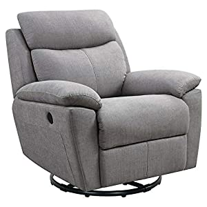 Glider and Swivel Recliner with USB Port in Light Gray-Rocking Chair-Rocking Chair for Nursery-Baby Rocker-Glider Rocker with Ottoman-Glider Rocker-Rocker Recliner-Nursery Rocking Chair
