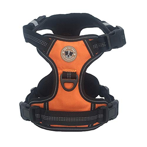 ZeusDaBear Dog Harness | Reflective No Pull Harness Pet Vest | Very Easy Control pet Walking Adjustable Harness for Small Medium Large XLarge Dogs | No Choke Front Lead Dog Harness (X-Large, Orange)