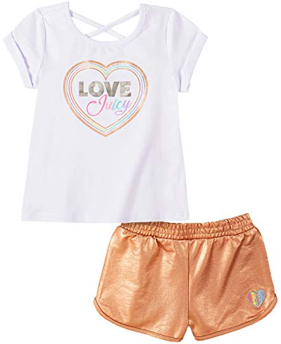 Juicy Couture Girls' 2 Pieces Shorts Set, White/Pink, 3T