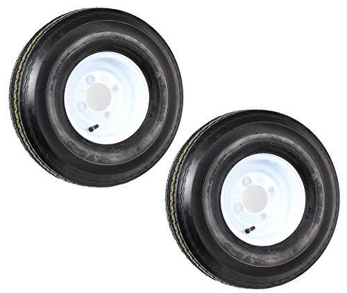 2-Pack Trailer Tire On Rim 570-8 5.70-8 8 in. Load C 4 Lug White Wheel