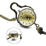Pocket watch LYF Neue Ankunft Antike Vintage Glas Sfera Bull Eye Collana Kette Quarz Taschenuhr Orologio da Tasca-9.25 (Color : Copper)