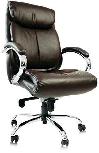 Kijng Chefsessel Kings - Braun Chrome Echtes Leder - Bürostuhl Schreibtischstuhl Drehstuhl Sessel Stuhl