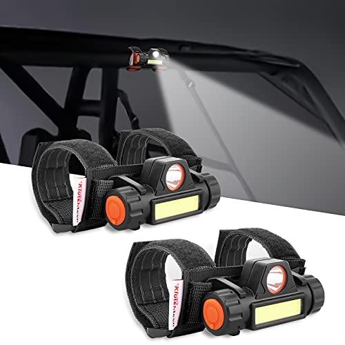2PCS Universal Roll Bar Mount LED Light, Klutchtech Interior Dome Light Work Light for UTV ATV Polaris RZR Golf Car Truck Off-Road Pickup Boat-Black