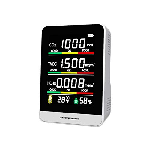 azorex Medidor CO2 Monitoreo de Co2 Detector de Dióxido de Carbono Batería Recargable Portátil Probador de Calidad de Aire HCHO CO2 TVOC para Interior Hogar Público Agricultura Industria