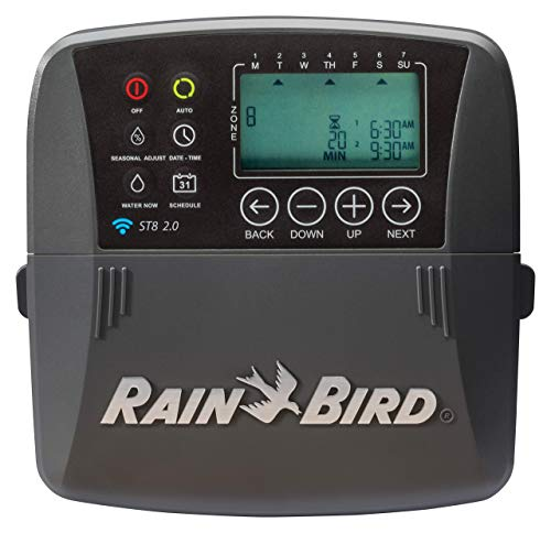 Rain Bird ST8I-2.0 Smart Indoor WiFi Sprinkler/Irrigation System Timer/Controller, WaterSense Certified, 8-Zone/Station, Compatible with Amazon Alexa (new model replaces Obsolete ST8I-WIFI) (Renewed)