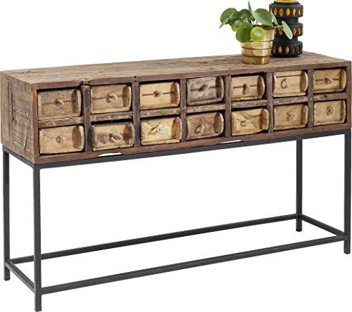 Kare Design Konsole Bastidon 125cm, schöne Holzkonsole mit Schubladen und Stauraum, Gestell schwarz, 14 Schubladen, Unikat, (H/B/T) 75x125x33cm