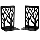 Bookends, Book Ends, Metal Bookend Heavy Duty Bookends for Shelve, Black Book Supports Non-Skid Book Stopper Bookshelf Holder for Office Home School, 1 Pair