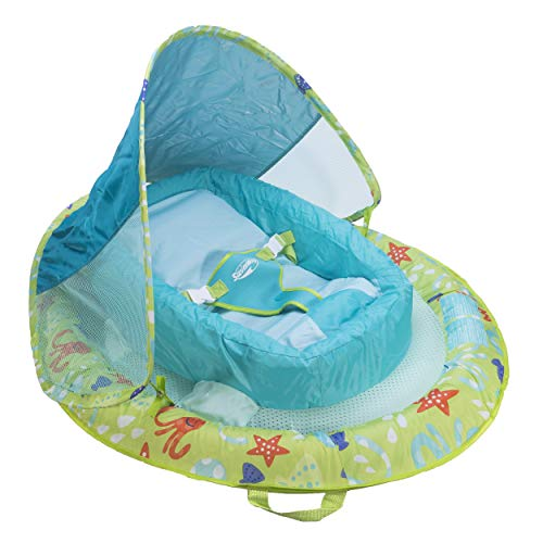 SwimWays Infant Baby Spring Float with Adjustable Sun Canopy  Green