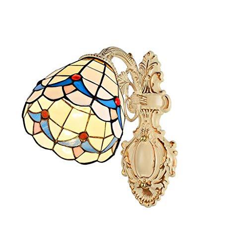 Stijlvolle eenvoud mediterrane glas in lood wandlamp slaapkamer nachtspiegel licht Aisle woonkamer balkon decoratieve lampen (Ontwerp : D-dubbele kop), JTD A-single Head