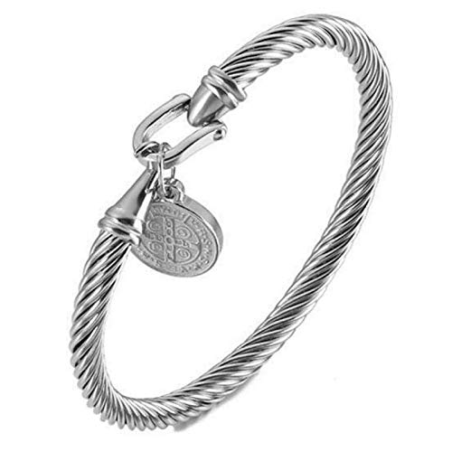 Osflydan Saint Benedict Bracelet,Saint Benedict Exorcism Protection Silve Cross Bracelet,Charm,Steel Saint Benedict Bracelet for Women,Catholic Bracelet for Men or Women (Silver)