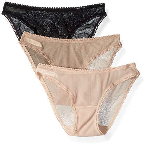 OnGossamer Women's Mesh Low-Rise Bikini Panty, Champagne Multi (3 Pack), Small