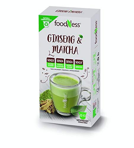 FoodNess - Capsula caffè al ginseng e matcha compatibile con sistema nespresso senza glutine e lattosio gusto erbaceo(1 box Tot. 10 Capsule)
