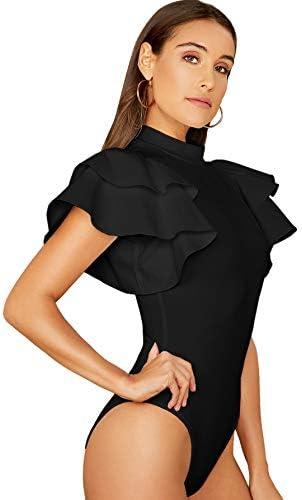 SOLY HUX Women s Mock Neck Ruffle Butterfly Sleeve Skinny Bodysuit Black S product image