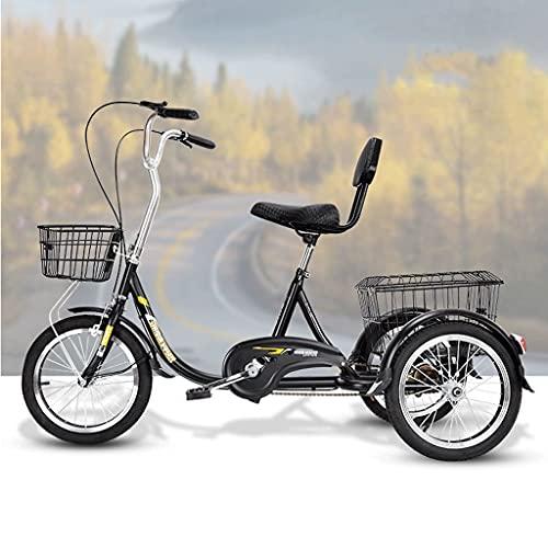Triciclo de Adultos Triciclo Adulto Bicicleta De 3 Ruedas Con Cesta De Compras Bicicleta Bicicleta Bicicleta 16 Pulgadas Adultos Triciclos Para Personas Mayores Mujeres Hombres Trikes Rec(Color:negro)