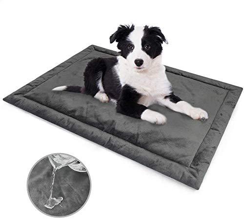 Allisandro Cama para perros Gato Cojín Impermeable Lavable Colchón Suave y cálido Estera del amortiguador del paño grueso y suave del animal doméstico Gris profundo M 80x60cm