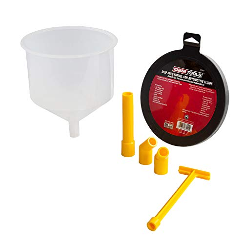 lisle funnels OEMTOOLS 87041 No-Spill Automotive Fluid Filling Funnel Kit, 6 Piece, Mess-Free Design, Includes Stopper, (2) 45 Degree Angled Elbows, and a 5 Inch Extension, Professional Mechanic Tool, White