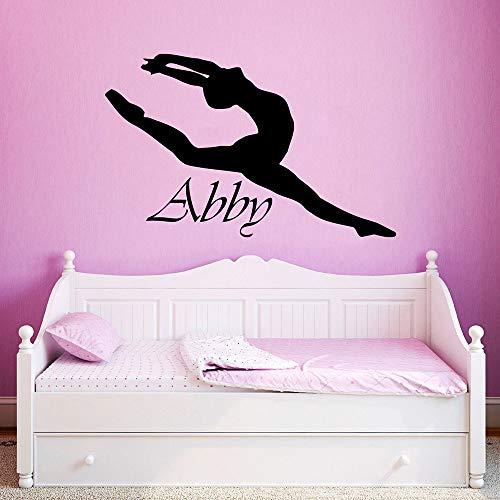 Tong99 Muurtattoo, vinyl, op maat gemaakt, meisjes, naam, ballerina, ballet, dansers, gymnastiek, meisjes, muursticker, kamerdecoratie, 67 x 42 cm