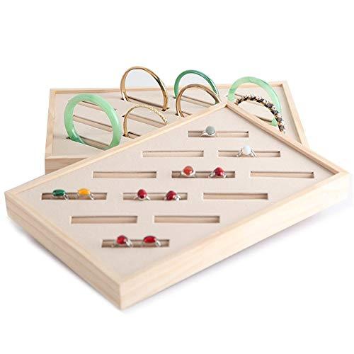 GJHT Jewelry Organizer Holder Storage Shelf Display Stand Jewelry Creative Solid Wood Bracelet Display Disc Ring Jewelry Box for Rings Bracelets (Color : Brown, Size : 30x20x3.3cm)