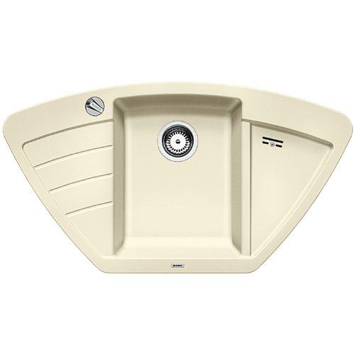 BLANCO ZIA 9 E - Eckspüle für die Küche für 90 cm Eckschränke oder 60 cm Unterschränke - aus SILGRANIT - Beige - 514751