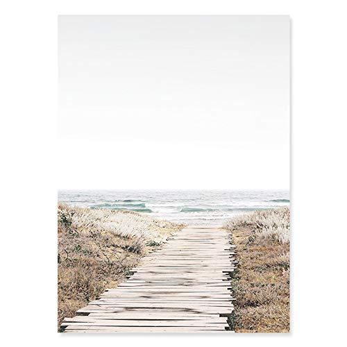KELEQI Impresión de Carteles Foto de mar Impresión de Playa Costera Paisaje del océano Lienzo Pintura Arte de la Pared Imágenes Sala de Estar Decoración del hogar (60x80cm) Sin Marco