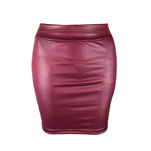 Schwarzer Lederrock für Damen, hohe Taille, Wetlook, Gummizug in der Taille Gr. 48, weinrot