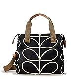 Orla Kiely Core Linear Zip Messenger Shoulder Bag, Black/Cream, One Size