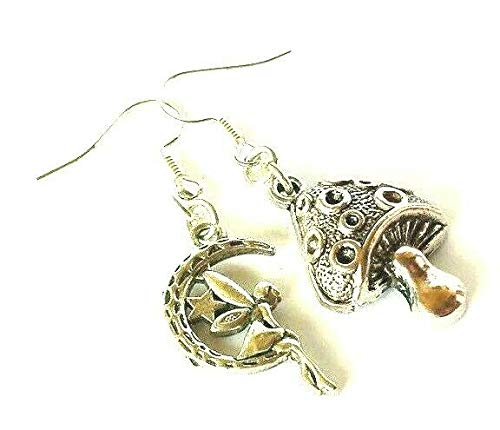 Magical Toadstool & Fairy Mismatched Earrings on Sterling Silver