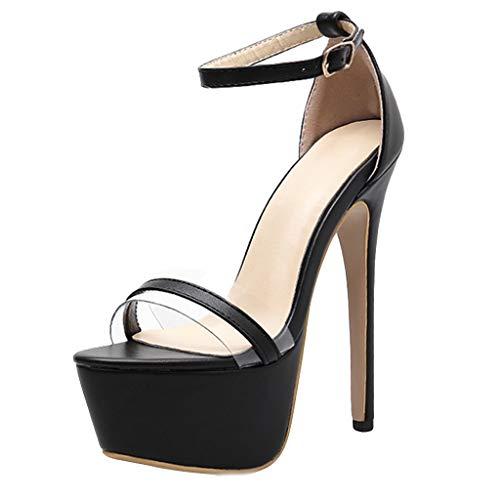 Luckycat Verano Zapatillas de Mujer Una Palabra con Sandalias de tacón Gruesas Transparentes Zapatos de tacón Alto de Cristal Zapatos de tacón Altas Ancho Cordones Fiesta Romano Sandalias de Vestir