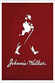 """Tin Sign Metal Poster Plate (8""""x12"""") of Johnnie Walker Whiskey Red Logo by Food & Beverage Decor Sign"""