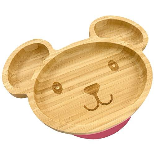 Hochwertiger Baby/Kleinkind Saugnapf-Teller aus Bambus mit rutschfestem Saugfuß, Bärchen (Berry, Pink)