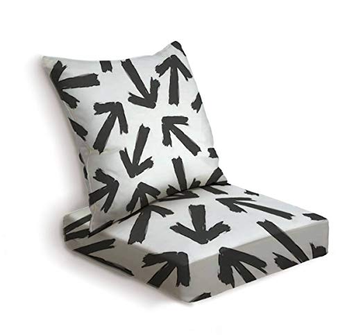 2-Piece Outdoor Deep Seat Cushion Set Black chaotic arrows Isolated on a white background Ink silhouette Back Seat Lounge Chair Conversation Cushion for Patio Furniture Replacement Seating Cushion