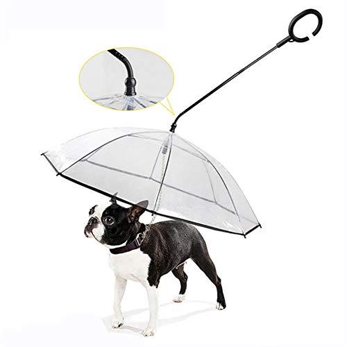 KT Mall Hunderegenschirm mit Leine für den Hundespaziergang im Freien, klare Sicht für kleine Welpen, Regenschutz für Haustiere und Schneeschutz
