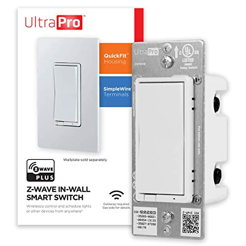 UltraPro Z-Wave Plus Smart Light Switch, In-Wall White Paddles Built-In Repeater Range Extender ZWave Hub Required - Alexa and Google Assistant Compatible, 39348