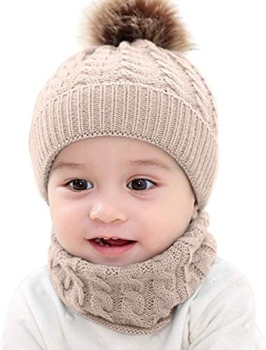Tmtop New Toddler Girl Boy Baby Infant Winter Warm Crochet Knit Hat Beanie Cap Beige product image