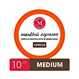 Martha Stewart Coffee Pods By Barrie House, 10 Count | Martha's Espresso Medium to Dark Roast | Single Serve Capsules Compatible With Keurig K Cup Brewers | Organic & Fair Trade Certified