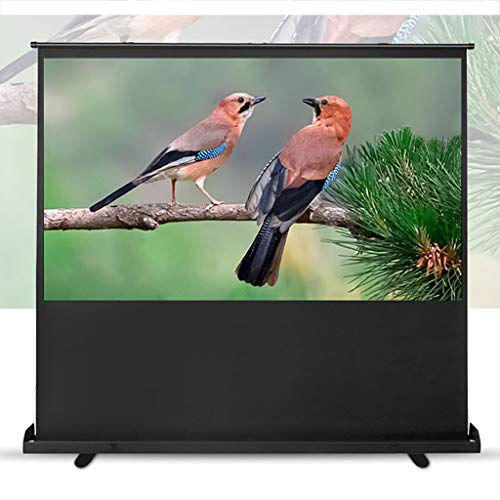 AIOEJP Floor Projector Screen Full HD 3D Electric Motorised Projector Screen Portable Freestanding Widescreen 4K Home Cinema and Business