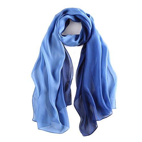 Seidenschal Damen Seidentuch 100% Seide Schal Tuch Leicht Hautfreundlich Geschenk für Frauen 175 X 65cm (Blauer Farbverlauf) MEHRWEG