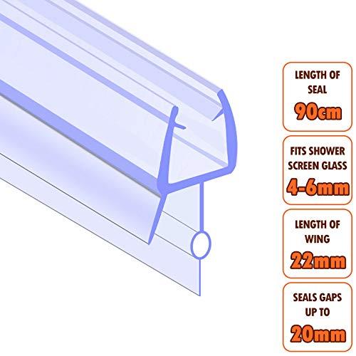 6 mm Glas Duschdichtung Runddusche Ersatzdichtung Wasserabweiser gebogen für 5