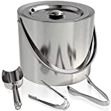 Classy Pantry Stainless Steel Insulated Ice Bucket with Tongs and a Scoop