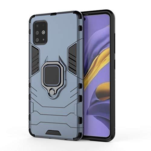 HAOYE Cover per Samsung Galaxy A51, Silicone Cover con 360 Gradi Girevole Anello, Armor Custodia con Supporto Magnetico Auto, Silicone TPU e PC Doppio Strato Protettiva Bumper. Blu