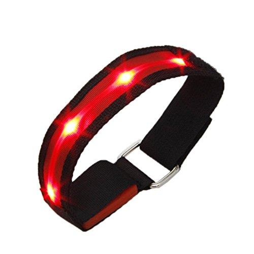 SODIAL(R) Brassards Reflechissant Reglable en Nylon LED Clignotant Haute Visibilite pour la securite Cyclisme de Jogging Course et a Pied-Rouge