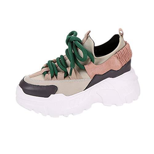 JUTOO Frauen-beiläufige Plattform-Sport-Zunahme-hohe Schuhe runder Kopf Lace-UP Flache Turnschuhe(Rosa,37 EU)