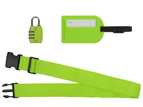 Reise-Set 3 TLG. Koffergurt Gepäckschloss Gepäckanhänger Koffer Gepäck von Alsino, Variante wählen:P781021 grün