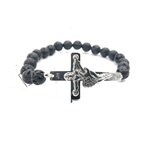 AURSTORE® Bracelet croix guitare JH, bracelet johnny hallyday, vendue à ses concerts, gourmette en acier inoxydable avec pierre de lava