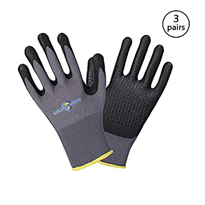 Golden Scute 6 Pairs Micro-Foamed Nitrile Coated Safety Work Gloves, Nitrile Dots on Palm, Touchscreen Technology, Ideal for Landscaping, Material Handling, Gardening