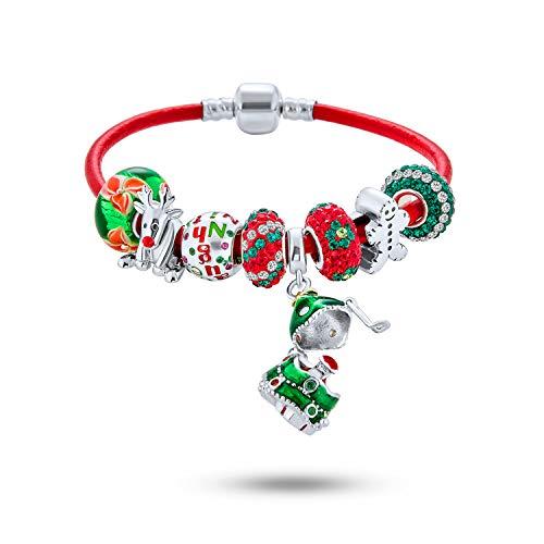 Secret SANTA Locket Bead Naughty Nice Holiday Saying Reindeer Ginger Breadman Multi Charm Bracelet Genuine Red Leather For Women Teens .925 Sterling Silver European Barrel Clasp 7.5 Inch