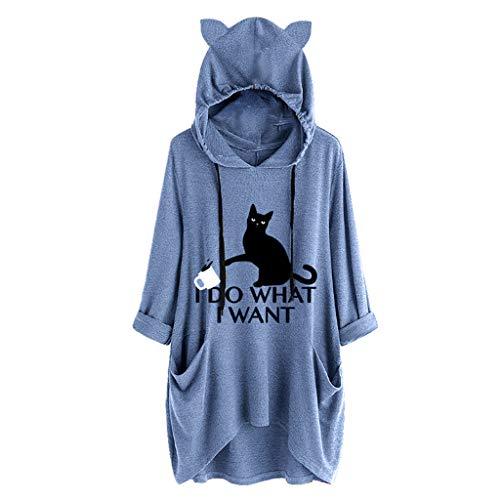 LäSsiges Frauen Kapuze Hoodie Sweatshirt I Do Want I Want Cat Print Langarm UnregelmäßIges T-Shirt Top Umhang NäHen üBergangsjacke LangäRmliges Hemd Sonnenschutzkleidung Oberteile
