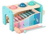 HB.YE 2 en 1 Multifonction Xylophone en Bois Premier Âge Jouet Musical Jeu d'éveil pour bébé Fille Garçon Tomber boules (Bleu)