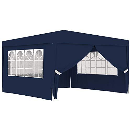 vidaXL Carpa Profesional para Fiestas con Paredes Tienda de Exterior Campamento Toldo de Eventos al Aire Pabellón Gazebo Almacenamiento 4x4m Azul