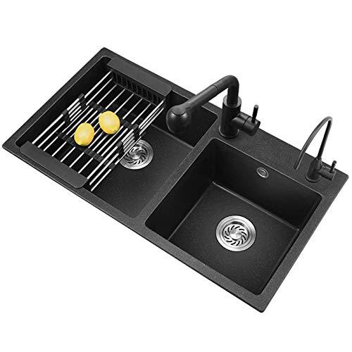MLMQ Fregadero de Cocina Granito, Fregadero Empotrado 2 Senos con el Juego de Rebosadero y Desagüe Dispensador de Jabón, Lavabo Cocina Negro,Without tap,80X45cm